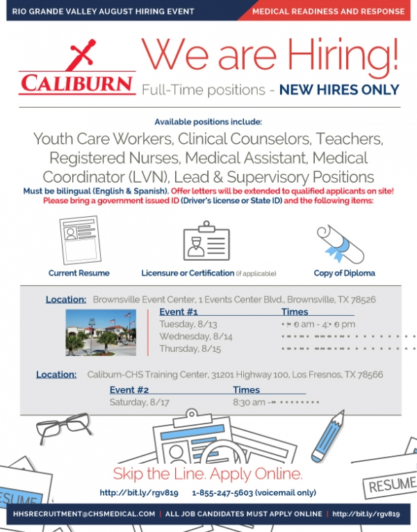 CAliburn Hiring Events Aug 13 17 2019
