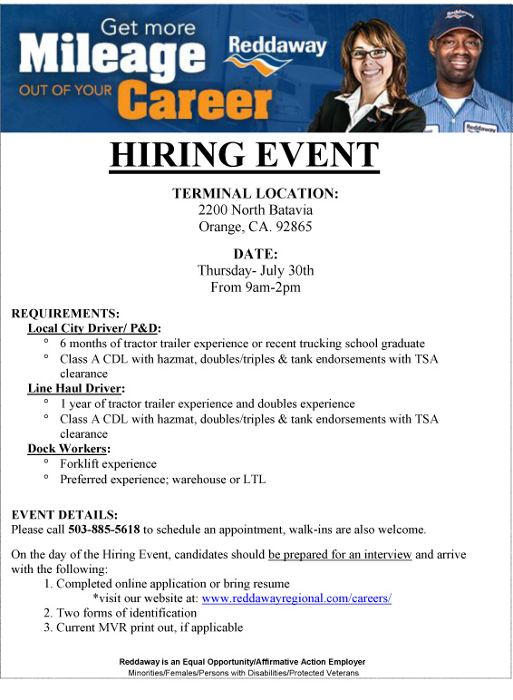 HIRING EVENT Orange CA EX Military Jobs
