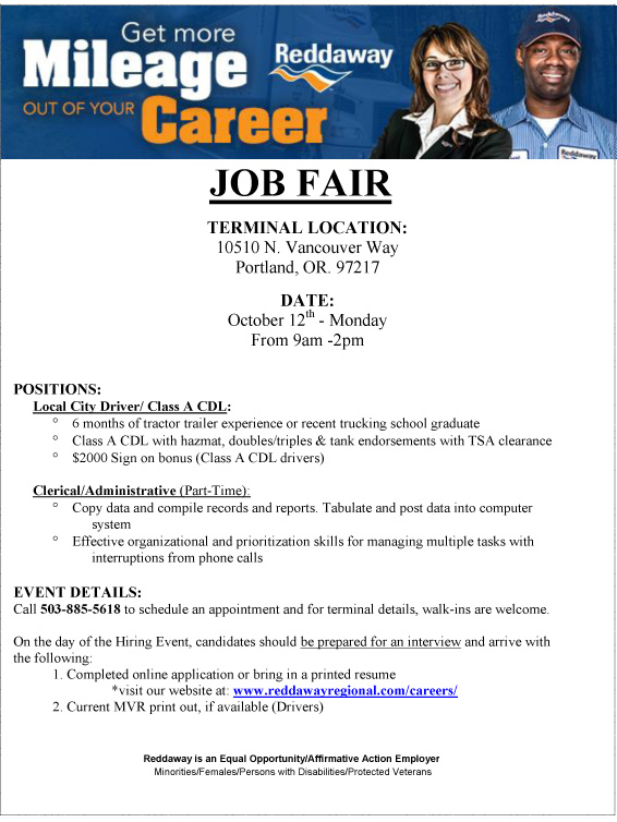 DRIVER JOB FAIR OR