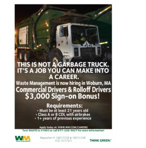 Commercial Drivers Rolloff Drivers Woburn MA